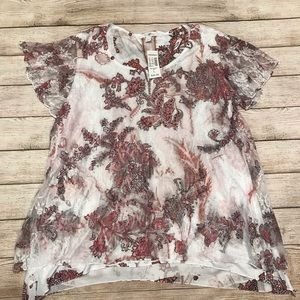 NWT Roz & Ali Layered Short Sleeve Top Size L